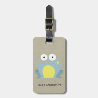 KIDS CUTE PERSONALIZED BLUE KRAFT BABY FROG LUGGAGE TAG
