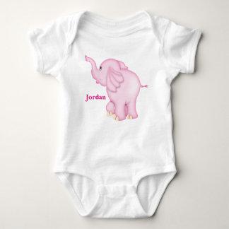 Kid's Cute Pink Baby Elephant Baby Bodysuit
