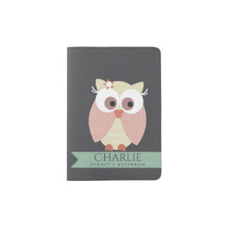 KIDS CUTE PINK PEACH NAVY ADORABLE OWL MONOGRAM PASSPORT HOLDER