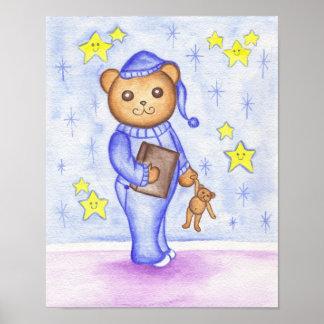 Kids Cute Teddy Bear Nursery Art Poster Print