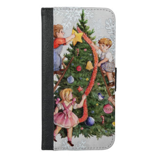 Kids Decorating Christmas Tree iPhone 6/6s Plus Wallet Case