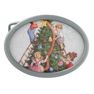 Kids Decorating Christmas Tree Oval Belt Buckles