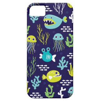 Kids deep sea fish marine illustration pattern iPhone 5 covers