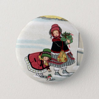 Kids Delivering Christmas Gifts 2 Inch Round Button