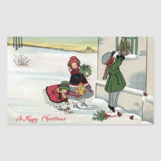 Kids Delivering Christmas Gifts Rectangle Sticker