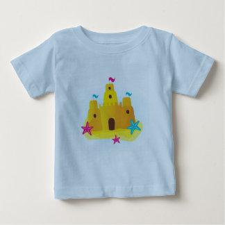 Kids designers t-shirt blue with Sand castle