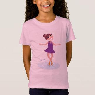 Kids designers t-shirt pink : Ice skating girl