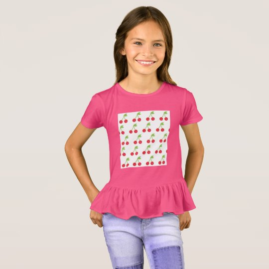 Kids designers t-shirt Pink with cherries