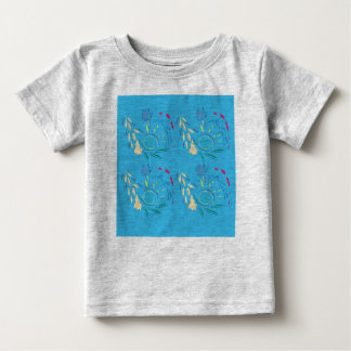 Kids designers t-shirt with Ornaments blue