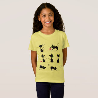 Kids designers t-shirt yellow with Kittens