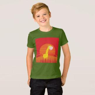 Kids designers Tshirt Africa Giraffe KHAKI GREEN