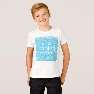 Kids designers tshirt with Blue folk