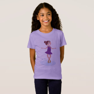 Kids designers tshirt with Winter ice skating girl