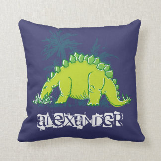 Kids Dinosaur Stegosaurus blue green pillow