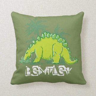 Kids Dinosaur Stegosaurus green pillow