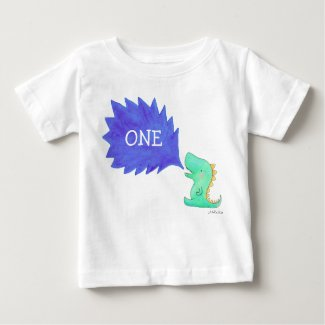Kids Dinosaur T-shirt One Year Old Birth Day Tee