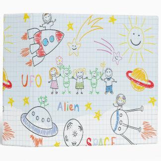 Kids drawing,space,aliens,universe,cute,kid,kawai, vinyl binder