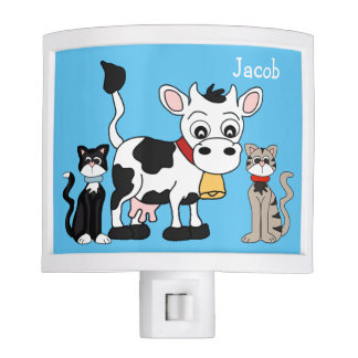 Kids Farm Cow and Cats Nite Light