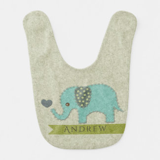 KIDS FELT PATCHWORK BLUE BABY ELEPHANT MONOGRAM BIB