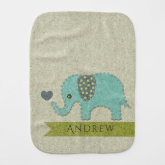 KIDS FELT PATCHWORK BLUE BABY ELEPHANT MONOGRAM BURP CLOTH
