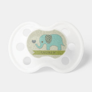 KIDS FELT PATCHWORK BLUE BABY ELEPHANT MONOGRAM PACIFIER