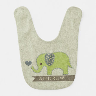 KIDS FELT PATCHWORK GREEN BABY ELEPHANT MONOGRAM BIB