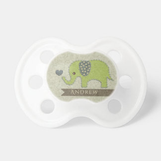 KIDS FELT PATCHWORK GREEN BABY ELEPHANT MONOGRAM PACIFIER