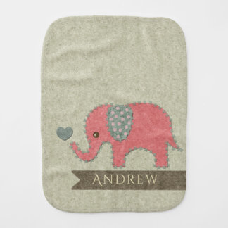 KIDS FELT PATCHWORK PINK BABY ELEPHANT MONOGRAM BURP CLOTH