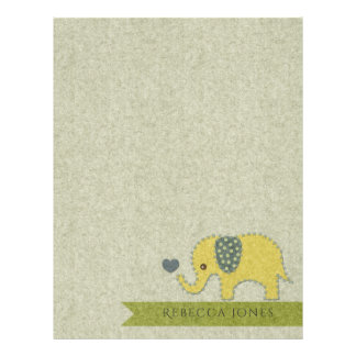 KIDS FELT PATCHWORK YELLOW BABY ELEPHANT MONOGRAM LETTERHEAD