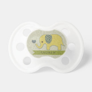 KIDS FELT PATCHWORK YELLOW BABY ELEPHANT MONOGRAM PACIFIER