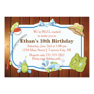 Kids Fishing Birthday Invitation