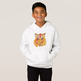 Kids' Fleece Pullover Hoodie Tiger Drawing