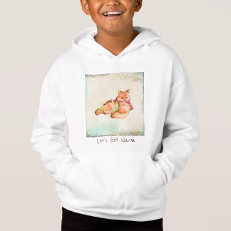 Kids' Fleece Pullover Hoodie Two Little Foxes