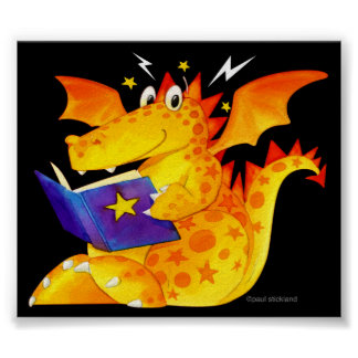 Kid's Funny Magical Baby Dragon Art Poster