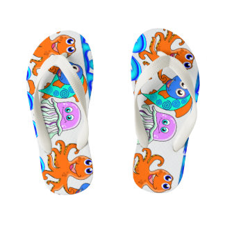 kids, funny sea kid's flip flops