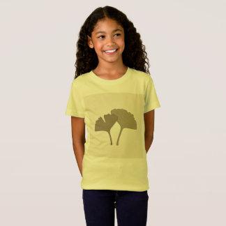 Kids Gingko hand-drawn Natural leaves  Yellow T-Shirt