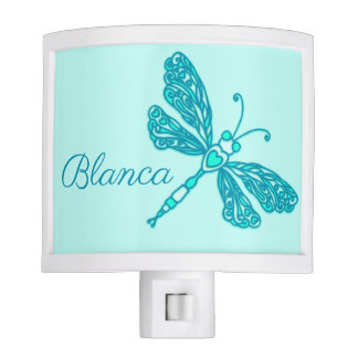 Kids girls dragonfly aqua teal name night light