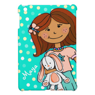 Kids girls name aqua dark hair polka dot ipad mini case for the iPad mini