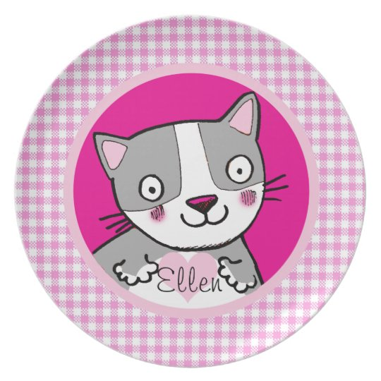 kids girly pink cute kitty custom name plate