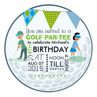 "Kids Golf Theme Birthday Party Customize Add Photo 5.25"" Square Invitation Card"