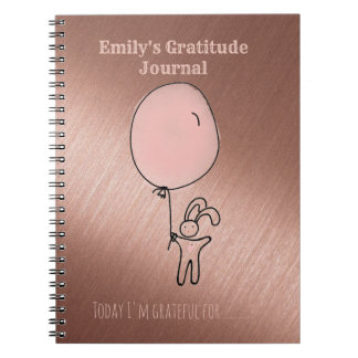 Kids Gratitude Journal Personalized Rose Gold Pink