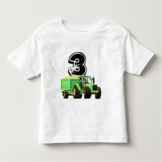 Kid's Green Tractor 3rd Birthday Toddler T-shirt