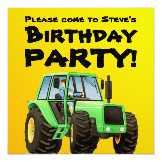 Kid's Green Tractor Party Card
