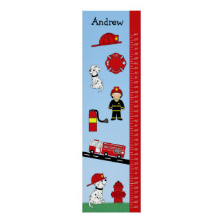 Kids Growth Chart  Fire Truck Poster