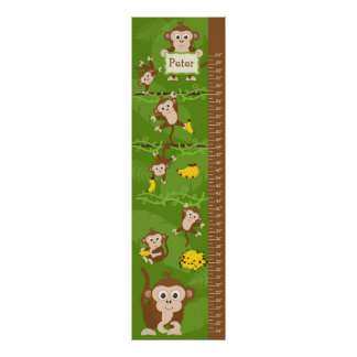 Kids Growth Chart - Monkeys Poster