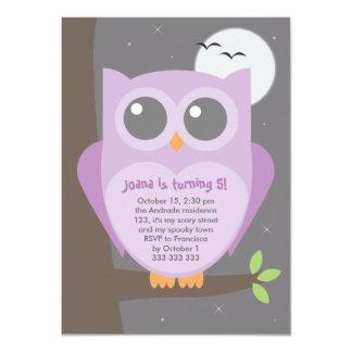 "Kids Halloween Birthday Party Purple Owl Tree 4.5"" X 6.25"" Invitation Card"