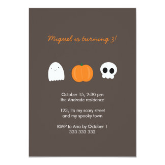 "Kids Halloween Birthday Photo Skull Ghost Pumpkin 4.5"" X 6.25"" Invitation Card"