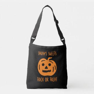 Kids Halloween trick or treat cross body tote bag