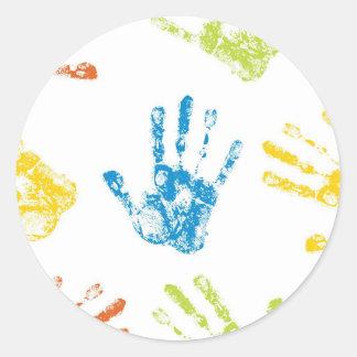 Kids Handprints in Paint Classic Round Sticker