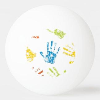 Kids Handprints in Paint Ping Pong Ball